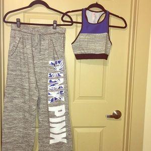 Victoria secrets pink sweat pants sports bra